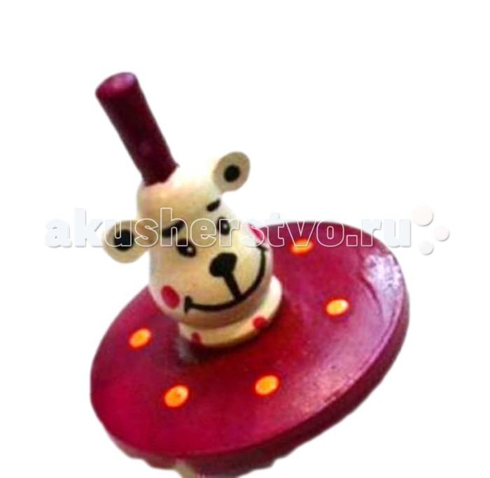 Деревянная игрушка Русская народная игрушка (РНИ) Волчок Белый мишка