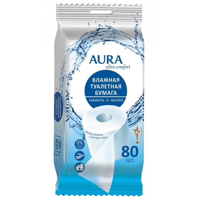 Aura Влажная туалетная бумага Ultra Comfort 80 шт.