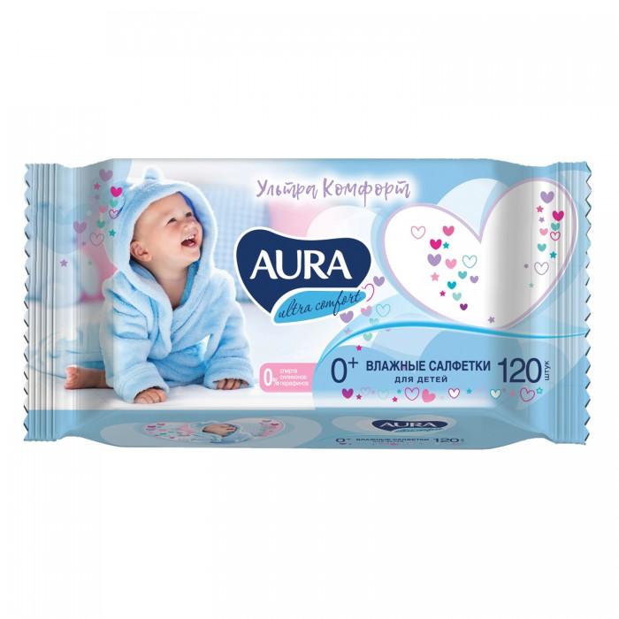 Aura Влажные салфетки с крышкой для детей Ultra Comfort с экстрактом алоэ и витамином Е 120 шт.