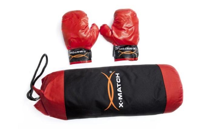 X-Match Набор для Бокса Д-170 мм Н-500 ммНабор для Бокса Д-170 мм Н-500 ммX-Match Набор для Бокса Д-170мм Н-500мм настоящий боксерский набор для юного начинающего спортсмена.   Набор включает в себя боксерскую грушу, а также прочные перчатки. Набор выполнен в черно-красном цвете. Перчатка фиксируется на запястье при помощи ремня на липучке. Груша снабжена текстильной ручкой-петлей для подвешивания. Верхняя часть груши шире нижней. Застежка-молния позволяет извлечь наполнение груши.   Данный набор является блестящей находкой для маленького бойца и позволит ему всегда находиться в хорошей физической форме.<br>