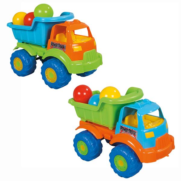Pilsan Грузовик Toplu Power с шарамиГрузовик Toplu Power с шарамиГрузовик Toplu Power - яркая игрушка для игр на улице.   Большой грузовик привлечет детское внимание и позволит придумать много увлекательных игр. При помощи грузовика ребенок сможет активно развивать воображения, сочиняя все новые игры, а также координацию движений и восприятие цветов.   Грузовик имеет большие колеса и откидной кузов, в который можно положить мелкие предметы или насыпать песок.  Максимальная нагрузка 3 кг. Модель имеет большие рельефные пластиковые колеса, которые отличаются легким ходом даже по песку.  Откидной кузов. Материал: прочный пластик. Размеры: 26.5х49.5х31 см.  Цвета в ассортименте.  Компания Pilsan начала свою историю в 1942 году. Сегодня – это компания-гигант индустрии крупногабаритных детских игрушек, которая экспортирует свою продукцию в 57 стран мира. Компанией выпускается 146 наименований продукции – аккумуляторные и педальные автомобили, велосипеды, развивающие игрушки и аксессуары для детей. Вся продукция Pilsan сертифицирована и отвечает международным стандартам качества.<br>