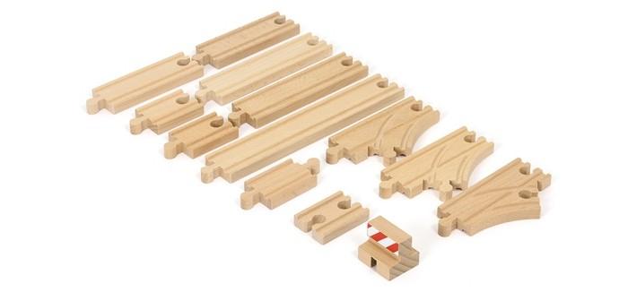 Brio Базовый набор железнодорожных элементовБазовый набор железнодорожных элементовBrio Базовый набор железнодорожных элементов. Набор для конструирования дополнительных участков дороги.  В состав набора деревянной железной дороги Brio входит железнодорожное полотно, которое позволит собрать ещё больше различных схем рельсового пути из стартовых наборов БРИО.<br>