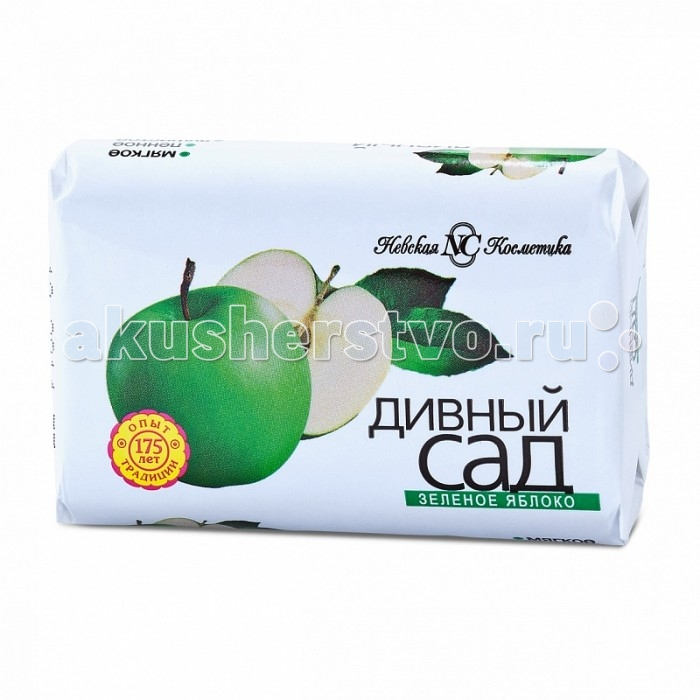 Невская Косметика Мыло Дивный сад Зеленое яблоко 90 гМыло Дивный сад Зеленое яблоко 90 гМыло с ароматом зеленого яблока.  Бережно очищает кожу благодаря мягкой основе.  При намыливании образует пышную кремообразную пену.  Не сушит и не раздражает кожу, подходит для всей семьи.  Активные компоненты Глицерин — один из самых эффективных натуральных увлажнителей.<br>