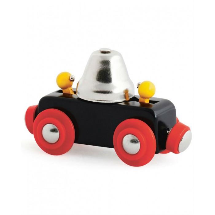 Brio Вагончик с сигнальным колокольчиком звон при движенииВагончик с сигнальным колокольчиком звон при движенииBrio Вагончик с сигнальным колокольчиком звон при движении дополнительный набор для пополнения железнодорожного парка и внесения разнообразия в игровой процесс. Вагончик подсоединяется к составу при помощи магнитных сцепок и следует за ним, звоня в колокольчик.   Игрушка выполнена из высокопрочных деревянных материалов, поэтому не представляет опасности для ребенка.<br>