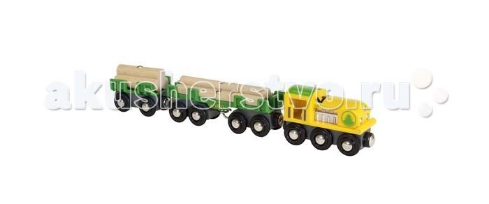 Brio Товарный поезд ЛесовозТоварный поезд ЛесовозBrio Товарный поезд Лесовоз. Главный элемент любой лесопилки - грузовой поезд Лесовоз. В состав поезда входит локомотив и два грузовых (двухосный и четырёхосный) вагона гружёных лесом. Груз можно загружать или разгружать с вагонов с помощью кранов с магнитным зацепом.   На двухосный вагон можно загружать другие грузы деревянной железной дороги BRIO. У локомотива БРИО открывается моторный отсек, что позволит проводить его игрушечный ремонт.<br>