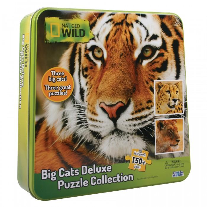 Uncle Milton Пазл 3 в одном в жестяной коробке Nat Geo Wild Games &amp; Puzzles 16445 150 элементовПазл 3 в одном в жестяной коробке Nat Geo Wild Games &amp; Puzzles 16445 150 элементовПазл 3 в одном (гепард, тигр, лев) в жестяной коробке Nat Geo Wild Games & Puzzles  Пазл 3 в одном (большие и роскошные дикие кошки: гепард, тигр и лев) в жестяной коробке. Возраст: 5+<br>