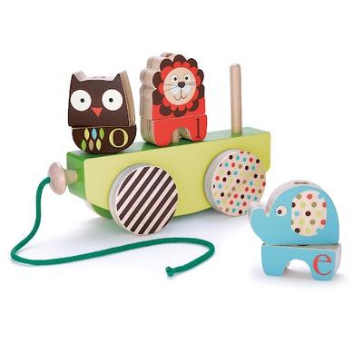 Деревянные игрушки Skip-Hop Каталка Alphabet Stack Roll & Pull