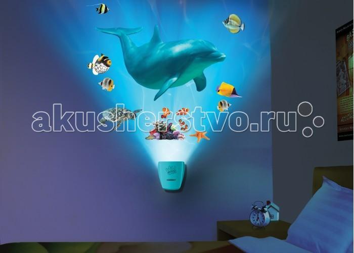 Uncle Milton Настенный проектор Путешествие с дельфином In My RoomНастенный проектор Путешествие с дельфином In My RoomИнтерактивный настенный проектор Путешествие с дельфином.   Проектор с уникальными и реалистичными звуковыми и световыми эффектами погружения в морскую пучину.   Требуется 3 батарейки типа АА. Батарейки входят в комплект.   Возраст: 5+<br>