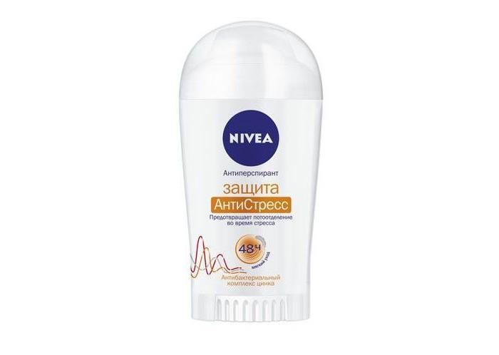 Nivea Дезодорант-антиперспирант стик Защита Антистресс 40 млДезодорант-антиперспирант стик Защита Антистресс 40 млВ состав антиперспиранта входит антибактериальный комплекс на основе цинка, поэтому део-стик прекрасно подойдет для женщин с нежной и легко воспаляющейся кожей. Цинк помогает справиться с потоотделением даже в стрессовых ситуациях, а специальный комплекс АнтиСтресс препятствует развитию бактерий и предотвращает появление неприятного запаха.   Масло авокадо защищает кожу от пересушивания, сохраняя ее нежной и мягкой. Стиковая система обеспечивает простое и быстрое использование.  Особенности: Антибактериальный комплекс с цинком. Ухаживающая формула с маслом авокадо. Не содержит спирт, красители и консерванты. Продукт одобрен дерматологами. Эффективность против пота и запаха на 48 часов даже в стрессовых ситуациях.  Nivea является одной из ведущих мировых компаний в области средств по уходу за кожей. Nivea заботится о потребителях, предлагая им совершенные и инновационные продукты. В исследовательском центре компании работает более 150 специалистов в области дерматологии и косметологии, фармакологии и химии. Косметическая продукция совершенствуется благодаря регулярным лабораторным исследованиям и многочисленным тестам.<br>