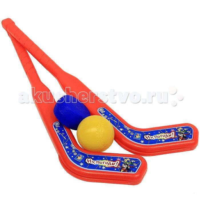 1 Toy Набор хоккейный Ну погоди! 2 клюшки шайба мячик