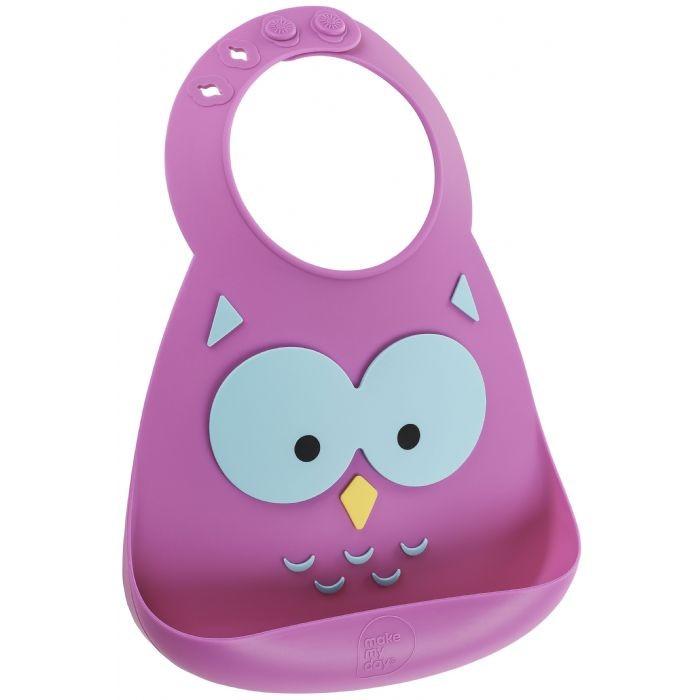 Нагрудник Make my day Baby Bib OwlBaby Bib OwlНагрудник Baby Bib  Детский нагрудник из нежнейшего силикона.   Имеет специальный кармашек, предотвращающий падение пищи на пол или на одежду малыша, и регулируемую застежку, позволяющую увеличивать ширину горловины по мере роста ребенка.   Подходит для детей от 6 месяцев до 3 лет.   Нагрудник можно быть в посудомоечной машине.   Не сковывает движения малыша.<br>