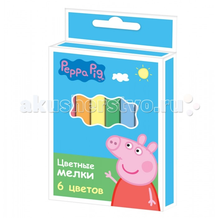 Мелки Peppa Pig Цветные с квадратным сечением 6 цветов