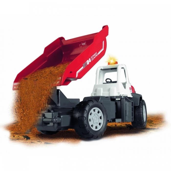 Dickie Самосвал со звуком Dump Truck 3413433Самосвал со звуком Dump Truck 3413433Самосвал Dump Truck со звуковыми и световыми эффектами имеет дополнительные функции с автоматическим опрокидывающимся кузовом. С этой игрушкой Ваш ребенок сможет играть как в доме, так и на улице.  При нажатии на кнопку, кузов будет постепенно подниматься, а при помощи второй кнопки можно активировать реалистичные звуки работающей машины, которые сопровождены световыми эффектами.   Размер: 35см Игрушка рекомендована для детей старше трёх лет.  Для работы игрушки требуются 2 батарейки 1.5 В типа АА.<br>