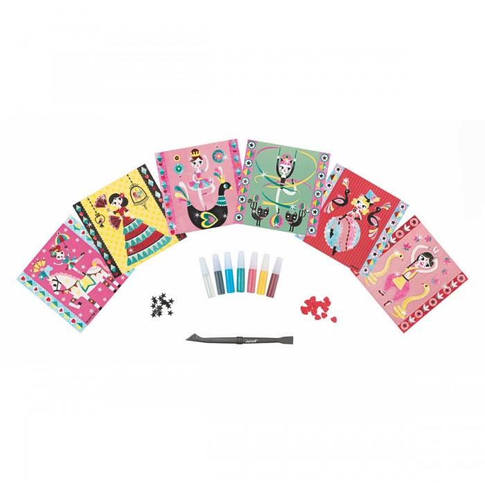Janod Набор для творчества посыпаем блестками Балерина 6 карточек