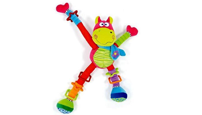Развивающая игрушка Мир детства Бегемот-акробатБегемот-акробатРазвивающая мягкая игрушка Бегемот-акробат Мягкие выдвижные элементы. Пищалка и погремушка внутри. Игрушка развивает слух, воображение, цветовое восприятие, тактильные ощущения и координацию движений.  Материал: полиэстер, велюр. От 1 года.<br>