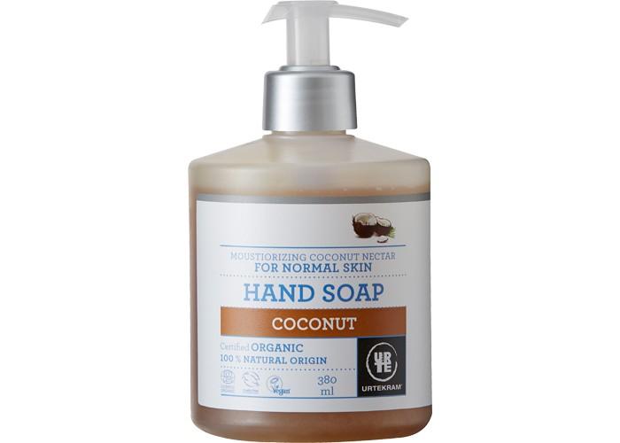 Urtekram Жидкое мыло Кокос 380 млЖидкое мыло Кокос 380 млЖидкое мыло Кокос 380 мл - органическое увлажняющее жидкое мыло с кокосовым молочком. Нежно и бережно очищает кожу, предохраняя ее от потери влаги. С уютным, теплым и сладким ароматом натурального кокоса.                                                                                    Сертифицировано ECOCERT Greenlife в соответствии с COSMOS ORGANIC.  100% натуральных компонентов.<br>
