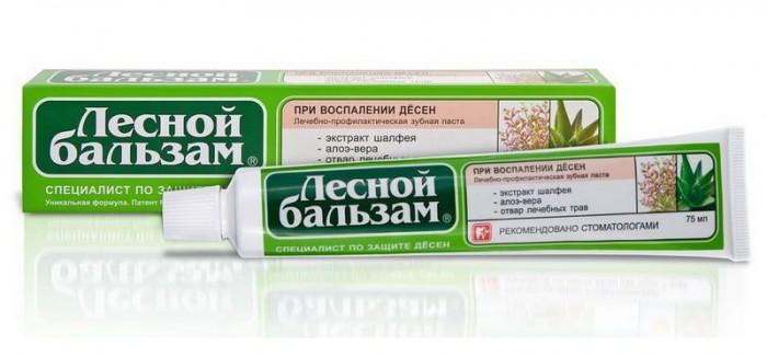 Лесной Бальзам Зубная паста Профилактическая с экстрактом шалфея и алоэ-вера на отваре трав 75 мл