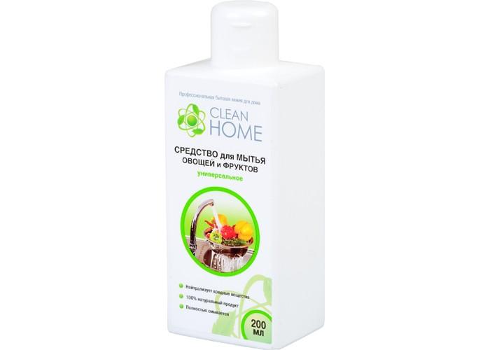 Clean Home Средство для мытья овощей и фруктов универсальное 200 млСредство для мытья овощей и фруктов универсальное 200 млClean Home Средство для мытья овощей и фруктов универсальное 200 мл  Антибактериальное средство для мытья фруктов и овощей предназначено для безопасного обеззараживания плодов. Эффективно удаляет и смывает с поверхности фруктов и овощей вредные пестициды, гербициды, инсектициды, следы парафина и воска.Гель эффективно растворяется как в горячей, так и холодной воде. Полностью безопасен и смываем, не содержит ароматизаторов, гипоаллергенный.<br>
