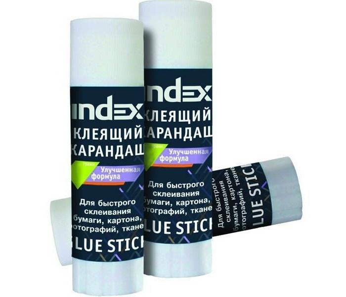 Index Клей-карандаш улучшенная формула 36 гКлей-карандаш улучшенная формула 36 гКлей-карандаш INDEX Улучшенная формула изготовлен на основе ПВА (PVA). Корпус клей-карандаша имеет специальное окошко, для контроля над расходом клеевого стержня.  Клей-карандаш «Index» предназначен для склеивания бумаги, картона, текстиля. Имеет большой срок хранения.  Без запаха, легко очищается с одежды, рук, не вызывает аллергии. Клей изготовлен из нетоксичного вещества с увлажняющим глицерином. Быстро сохнет, расходуется экономично. Морозоустойчив. Безопасен для детей.<br>