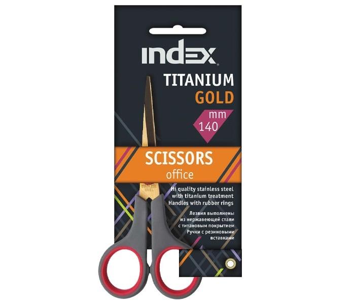 Index Ножницы Titanium Gold 140 мм пластиковые ручки