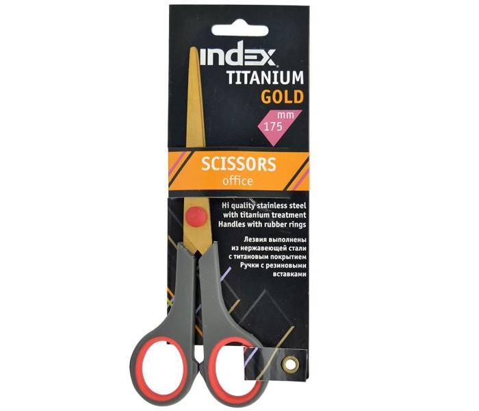 Index Ножницы Titanium Gold 175 мм пластиковые ручкиНожницы Titanium Gold 175 мм пластиковые ручкиНожницы TITANIUM GOLD, 175мм, пластиковые ручки  TITANIUM GOLD. Офисные ножницы. Лезвия выполнены из нержавеющей стали с титановым золотистым напылением, существенно снижающим вероятность образования статического электричества, а также прилипания к лезвиям клейких лент. Пластиковые ручки эргономичной формы с резиновыми кольцами.  Длина ножниц - 17.5 см.<br>
