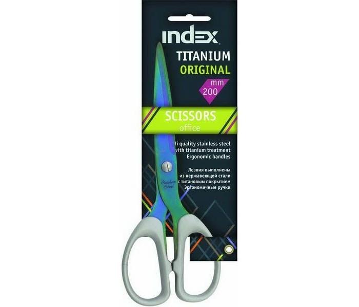 Index Ножницы Titanium Original 200 мм пластиковые ручкиНожницы Titanium Original 200 мм пластиковые ручкиНожницы TITANIUM ORIGINAL, 200мм, пластиковые ручки  TITANIUM ORIGINAL. Офисные ножницы. Лезвия выполнены из нержавеющей стали с титановым напылением, существенно снижающим вероятность образования статического электричества, а также прилипания к лезвиям клейких лент. Пластиковые ручки эргономичной формы.  Длина ножниц - 20 см.<br>