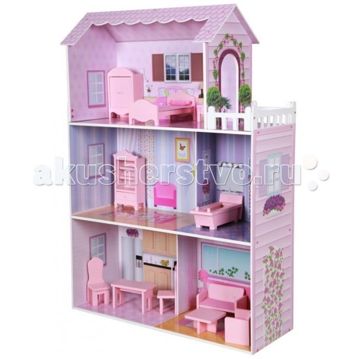 Kids4kids Кукольный домик с мебелью из дерева Волшебная сказкаКукольный домик с мебелью из дерева Волшебная сказкаКукольный домик с мебелью из дерева Волшебная сказка  Большой загородный домик для куклы с деревянной мебелью ручной работы и открытыми интерьерами в розовых тонах. Просторный дом включает в себя 3 этажа, 5 комнат: спальню, ванную комнату, зал, кухню и комнату для отдыха.  Каждая кукла мечтает о своем загородном доме.  Просыпаться в  светлой спальне на мягкой кровати, прихорашиваться в обустроенной ванной комнате. Неспеша завтракать на уютной кухне. Выбирать красивый наряд в платяном шкафу и собираться со своими подружками-куклами в просторном зале. А вечером, после всех своих многочисленных кукольных дел, понежиться под лучами закатного солнца на собственной белоснежной террасе на последнем этаже и лечь спать под теплое одеяло.   И как настоящая леди каждая кукла является ценительницей редких вещей: вся мебель в ее доме изготовленена из дерева руками умелых мастеров.   Большой загородный домик от  kids4kids воплощает в себе мечты каждой девочки.  Трехэтажный дом в розовых тонах имеет открытые интерьеры, в которых маленькая хозяйка дома может с легкостью перемещать любимых кукол, расставлять мебель и  аксуссуары.<br>