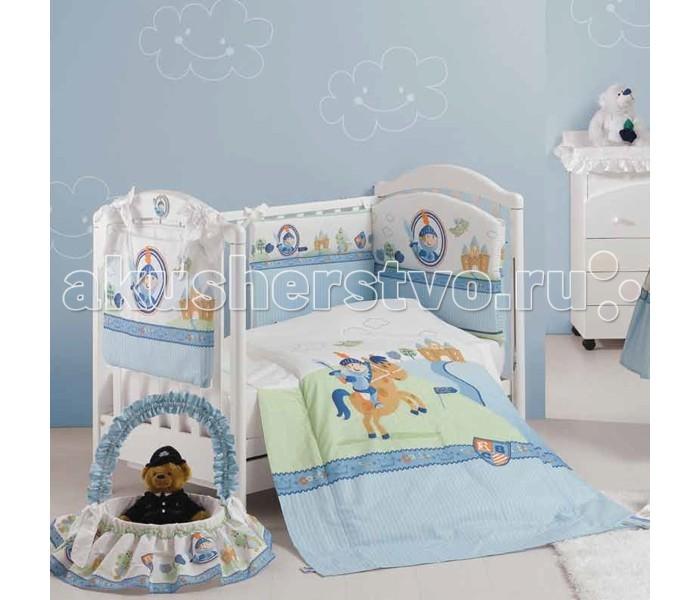 Комплект в кроватку Roman Baby Principe (5 предметов)Principe (5 предметов)Постельный комплект 5 предметов Roman Baby Principe для детской комнаты. Великолепный дизайн, приятные и спокойные тона помогут создать комфорт и уют в комнате малыша. Комплект изготовлен из 100% хлопка. Для изготовления использовалась нетоксичная краска.  Особенности:  - Комплект подойдет к кровати размером 125х65 см. - Сшито из высококачественного гипоаллергенного хлопка; - Использовались только нетоксичные красители; - Белье украшено аппликациями и вышивкой; - Белье можно стирать при температуре не выше 30 гр в режиме бережной стирки;  В комплект входит: - Одеяло - Пододеяльник - Наволочка 40 х 60 см - Подушка 40 х 60 см - Бортик на половину кроватки<br>