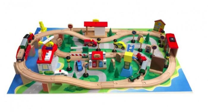 Kids4kids Конструктор деревянный Гигантская железная дорогаКонструктор деревянный Гигантская железная дорогаКонструктор деревянный Гигантская железная дорога Kids4kids  С автомобилями, автостанцией, тоннелем, мостом, вертолетными площадками и, главной изюминкой этого потрясающего красочного набора - гигантской железной дорогой на опорах с мостом и мчащимся поездом. Протяженность трасы 5 метров.  Благодаря такому масштабному набору у вашего малыша будет по-настоящему безграничные возможности для игры!  В состав набора входит 68 всевозможных деталей и предметов.   Вертолет может бороздить над всем городом и помогать всем жителям плодотворно играть и отдыхать.   Поезд с вагончиками на магнитах сможет устроить экскурсию всем желающим.   Благодаря дорожным знакам движение всех автомобилей будет безопасным. А катер со спасательной шлюпкой всегда на страже порядка на реке и пляжах. Автомобили коммунальных и спасательных служб всегда наготове.  И это все только та малая часть игрового процесса, который может предоставить этот набор вашему ребенку. Такая насыщенная игра превосходно развивает воображение и логику, положительно сказывается на координации движений и зрительной координации,  тренирует память и внимание.<br>