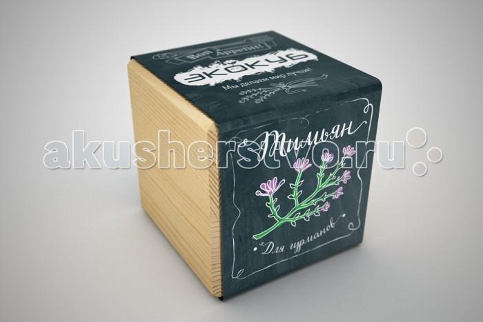 Экокуб Набор для выращивания ТимьянНабор для выращивания ТимьянЭкокуб Набор для выращивания Тимьян ECB-02-05  Набор Экокуб — удивительная вещь, которая станет необычным украшением дома или оригинальным подарком.  С виду это лишь маленький деревянный куб, но все не так просто. На самом деле это экологически чистый кубический «горшок» из натуральной древесины, внутри которого спрятано настоящее деревце!  Этот необычный горшочек позволит вам самостоятельно вырастить тимьян.  Тимьян (также известный как чабрец) - растение, в котором удивительным образом сочетаются редкая красота, многогранные кулинарные и целебные свойства. Небольшой аккуратный кустик с тоненькими стебельками, крошечными острыми листьями и нежно-лиловыми шишечками наполнит Вашу кухню прекрасным ароматом и атмосферой альпийского луга.  Тимьян является замечательной специей. Он придаст неповторимый аромат блюдам из мяса, рыбы, овощей, свежей выпечке, а также всевозможным маринадам и соусам. Ну и конечно всем известен ароматный чай с чабрецом.  Эфирные масла, содержащиеся в тимьяне делают его признанным лекарственным средством.  Экокубы серии «Bon Appetitt» — это возможность создавать настоящие кулинарные шедевры  Самостоятельно вырастив душистое растение, вы можете быть уверены в его качестве и вкусовых характеристиках. Помимо свежей зелени к столу и насыщенного вкуса домашних блюд, вы получаете оригинальное украшение вашей кухни.  Экокуб – это самый легкий способ вырастить растение, о котором вы когда-либо слышали  Благодаря этому оригинальному кубу-горшочку, вы легко с этим справитесь, даже если не имеете ни знаний, ни опыта в садоводстве. Вам не помешает отсутствие специальных инструментов и дачного участка, ведь в экокубе уже есть все необходимое для того, чтобы из него без особых усилий появилось растение. От вас потребуется лишь желание и чуточку заботы. Инструкция, написана так подробно и понятно, что вы не сможете ошибиться. Просто поместите семена в подготовленную почву, немного подождите, и случ