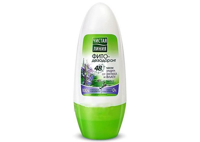 Чистая линия Фитодезодорант-антиперспирант шариковый Защита от запаха и влаги 50 млФитодезодорант-антиперспирант шариковый Защита от запаха и влаги 50 млФитодезодорант-антиперспирант шариковый Защита от запаха и влаги 50 мл  Природные компоненты: Вербена и шалфей  ДЕЙСТВИЕ: Защита от неприятного запаха на 48 часов Контроль над потоотделением на 48 часов<br>