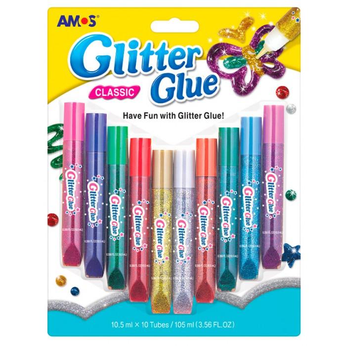 Amos Клей оформительский Классический 10 цветов в блистереКлей оформительский Классический 10 цветов в блистереКлей 20638/GCL-10B10 оформительский Классический, 10 цветов по 10,5 мл в блистере  Цвета: красный фиолетовый зелёный красный золотой серебряный бордовый голубой розовый бирюзовый<br>