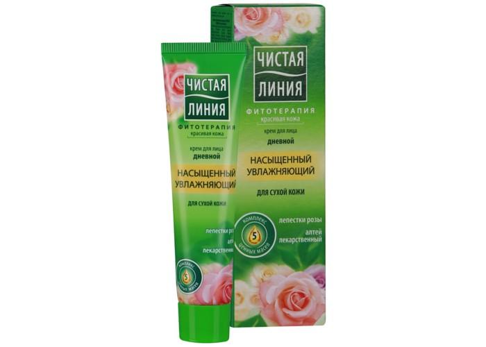 Чистая линия Крем для сухой кожи увлажняющий дневной  40 млКрем для сухой кожи увлажняющий дневной  40 млКрем для сухой кожи увлажняющий дневной  40 мл  Природные компоненты: Лепестки розы Алтей лекарственный Комплекс 5 ценных масел   Результат: Обеспечивает глубокое увлажнение, смягчает кожу  Успокаивает, освежает, делает кожу гладкой<br>