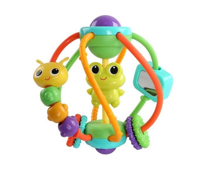 Развивающая игрушка Bright Starts Логический шарЛогический шарРазвивающая игрушка Bright Starts Логический шар. У шара есть вращающиеся гусеница и безопасное зеркало, лягушка-погремушка, пищалка, рельефные перемещающиеся кольца, крутящийся шар-погремушка с мелкими шариками в верхней части игрушки.<br>