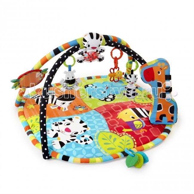 Развивающий коврик Bright Starts АфрикаАфрикаРазвивающий коврик Bright Starts Африка разработан для развития всех чувств ребёнка первого года жизни! Высококонтрастные элементы для развития зрения малыша.  Особенности: Мягкая подушка-опора жираф способствует укреплению мышц животика Музыкальная световая подвеска-тигренок (звуки и мелодии играют более 20 минут) Большое безопасное зеркальце 3 прорезывателя для зубок Большое безопасное зеркальце Погремушки: тигренок, пчелка и зебра с прозрачным животиком и цветными шариками внутри. Петли для крепления других игрушек Возможность машинной стирки  Размер коврика: 90 х 80 х 45 см<br>