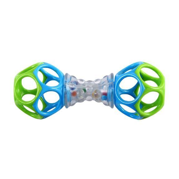 Погремушка RhinoToys шейкер Oballшейкер OballПогремушка Шейкер RhinoToys Oball оригинальной формы непременно станет любимой игрушкой малыша.  Особенности: Погремушку удобно держать маленькими ручками 2 гибких мячика - прорезывателя Прозрачная ручка с выпуклой поверхностью и разноцветными бусинами издает забавные звуки, когда малыш ее трясет Развивает мелкую моторику, зрение и слух Не содержит вредных веществ<br>