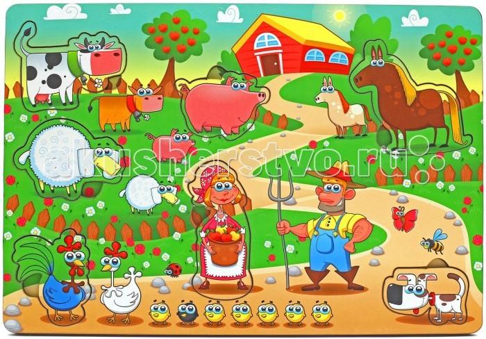 Деревянная игрушка Фабрика Мастер игрушек Рамка-вкладка Большая ферма