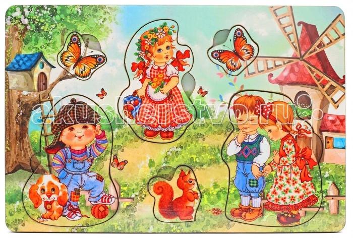 Деревянная игрушка Фабрика Мастер игрушек Рамка-вкладка Дети на природе