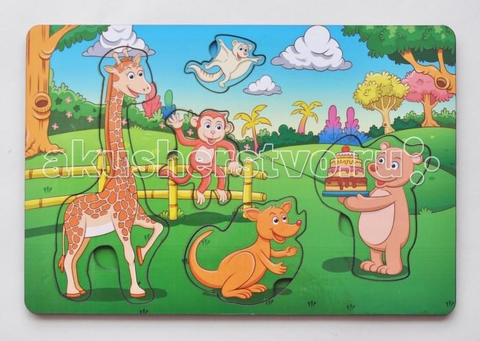 Деревянная игрушка Фабрика Мастер игрушек Рамка-вкладка День роджения в лесу
