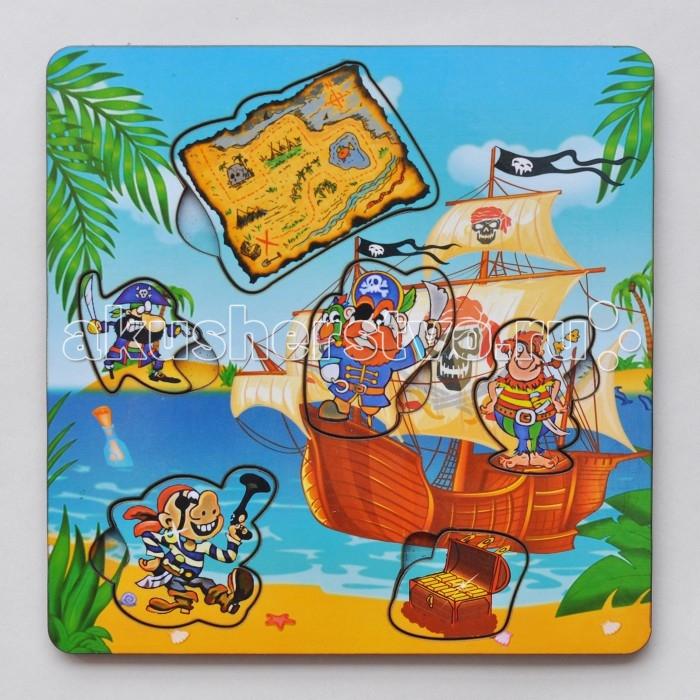 Деревянная игрушка Фабрика Мастер игрушек Рамка-вкладка Пираты с картойРамка-вкладка Пираты с картойРазвивающая игрушка «Пираты с картой» познакомит ребенка с героями морских приключений, позволит развить мелкую моторику, координацию и ориентацию на плоскости; научит основам классификации.   Рамка-вкладка обогащает словарный запас ребенка, способствует целостному восприятию, расширяет представление ребенка об окружающем мире и развивает любознательность.<br>
