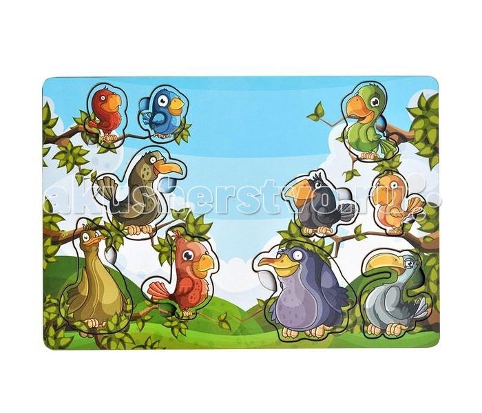Деревянная игрушка Фабрика Мастер игрушек Рамка-вкладка Веселые птахиРамка-вкладка Веселые птахиРазвивающая игрушка «Веселые птахи» познакомит ребенка с пернатыми представителями фауны, позволит развить мелкую моторику, координацию и ориентацию на плоскости; научит основам классификации.    Рамка представляет собой картинку с вырезанными частями. Чтобы получить целое изображение, необходимо правильно подобрать недостающие кусочки и вставить их.   Произносите вслух названия птиц на вкладышах – это позволит ребенку запомнить их и различать между собой.<br>