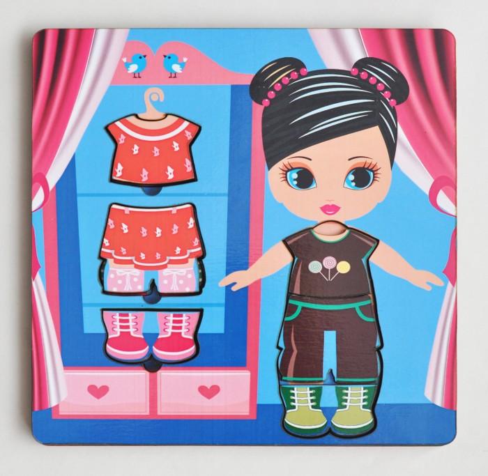 Деревянная игрушка Фабрика Мастер игрушек Рамка-вкладка ГардеробРамка-вкладка ГардеробРазвивающая игра для девочек «Гардероб» позволит развить творческие способности ребенка, научит сочетать предметы гардероба по цвету и стилю.   Произносите вслух названия предметов одежды – это позволит ребенку запомнить их названия и различать между собой.<br>