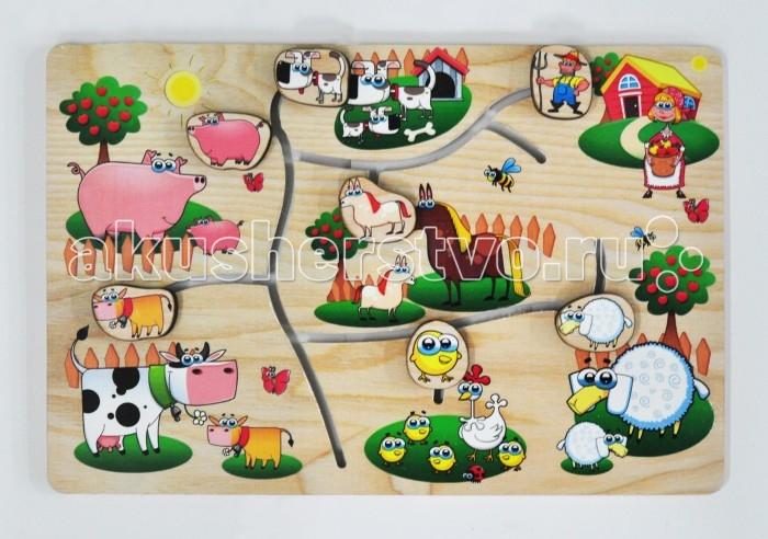 Деревянная игрушка Фабрика Мастер игрушек Лабиринт На фермеЛабиринт На фермеРазвивающая игрушка «На ферме» познакомит ребенка с обитателями крестьянского подворья, позволит развить мелкую моторику, координацию и ориентацию на плоскости; научит основам классификации.   Игра-лабиринт обогащает словарный запас ребенка, способствует целостному восприятию, расширяет представление ребенка об окружающем мире и развивает любознательность.<br>