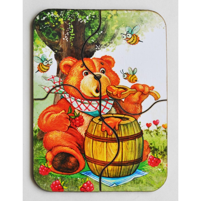 Деревянная игрушка Фабрика Мастер игрушек Мини пазл Медвежонок и мед