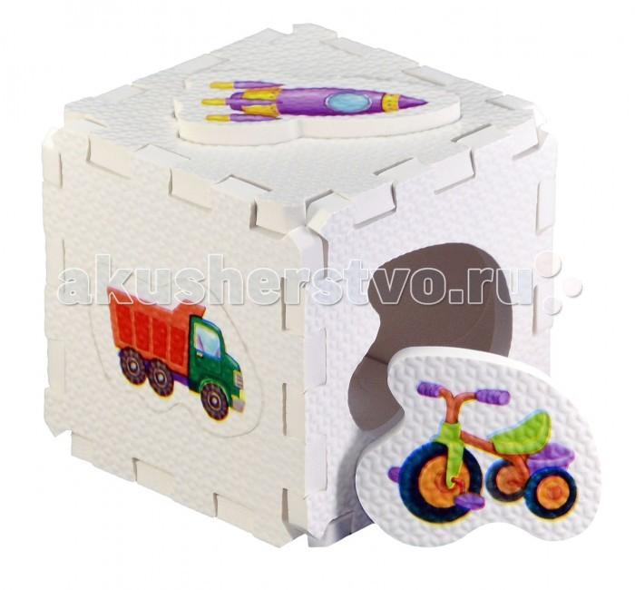 Робинс Кубик EVA-сортер Для мальчиковКубик EVA-сортер Для мальчиковНабор состоит из 6 больших деталей-пазлов, которые можно собрать в объёмный кубик. Собирая кубик и играя с этими деталями-пазлами, малыши тренируют мелкую моторику, развивают мышление, память, внимание, а также получают навыки творческого конструирования.  Детали-пазлы сделаны из экологически чистого и гипоаллергенного материала ЭВА (EVA), который не имеет цвета, запаха и вкуса, а значит, идеально подходит для первых развивающих игрушек и игр для самых маленьких детей.  В чём его особенности: • детали-пазлы можно грызть, мять, гнуть, сжимать и мочить, и при этом они не испортятся;  • с набором можно играть в ванной, детали плавают в воде и легко крепятся к кафелю и стенкам ванной;  • уникальная технология печати картинок на пазлах передаёт все оттенки цветов, и дети быстрее учатся узнавать нарисованные на них предметы в окружающем мире;  • набор идеально подходит для развития детской моторики, сенсорики, навыков конструирования; • детали-пазлы из разных наборов подходят к друг другу, вы легко можете комбинировать разные наборы.<br>