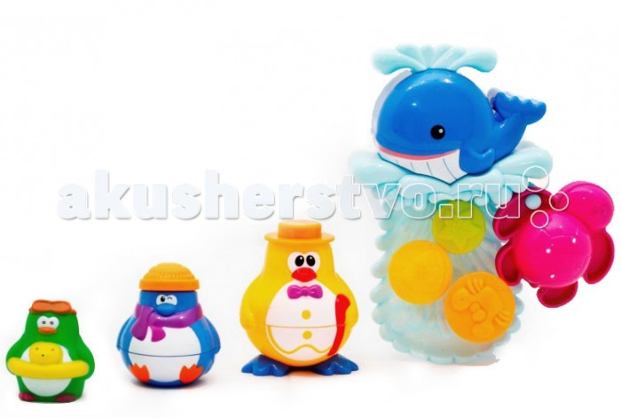 Roxy Игрушка для ванной Кит и пингвины, веселая компанияИгрушка для ванной Кит и пингвины, веселая компанияНабор для ванной Roxy - отличная игрушка для малыша. В наборе есть все необходимое для того, чтоб сделать ваше купание веселым и радостным. В комплекте идут присоски, с помощью которых игрушки легко крепятся на стенку ванной.  Вес: 450 гр Размер упаковки (ДхШхВ): 25.5х8х36.6 см.<br>