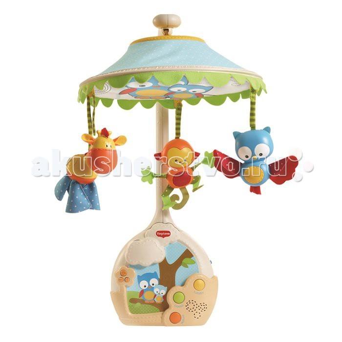 Мобиль Tiny Love Волшебная лампаВолшебная лампаВолшебная лампа - самый современный мобиль с проектором от Tiny Love. Игрушка «растет» вместе с малышом, приспосабливаясь к разным стадиям его развития.   Это и завораживающий проектор, и очаровательные игрушки-зверюшки, которые будут развлекать малютку днем и убаюкивать ночью. Широкий выбор музыки: 3 категории, 9 умиротворяющих мелодий, 30 минут непрерывной музыки! Сказочные впечатления от рождения и до ясельного возраста!   Три стадии для разных возрастов в одном изделии:  1) 0-5 месяцев: музыкальный мобиль с опциональным куполом-проектором 2) 5-18 месяцев: проигрыватель на кроватку с проектором на потолок 3) 18+ месяцев: очаровательный звездный ночник с музыкой  Особенности: проецирование изображения на купол (для самых маленьких) превращение в музыкальный центр с проецированием изображения на потолок – для малышей постарше превращение в ночник с эффектом звездной ночи для малышей ясельного возраста до 30 минут непрерывной музыки 3 категории, 9 мелодий кнопка выбора режима регулировка громкости кнопка отключения звука  Характеристики: 0-5 месяцев: дайте младенцу насладиться мобилем «Волшебная лампа» во всей красе, с проецированием изображений на купол (опционально)  5-12 месяцев: придайте мобилю форму музыкального центра с проецированием изображений на потолок  12-24 месяца: пусть малыш блаженствует, созерцая ночное звездное небо и слушая упоительные мелодии   Вес: 1,6 кг. Размер упаковки: 41х12х35 см<br>