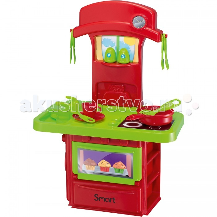 HTI Маленькая электронная кухняМаленькая электронная кухняHTI Маленькая электронная кухня 1680608.00  Кухня маленькая электронная Smart прекрасно подойдет для детей, которым хочется примерить на себя роль повара. Она включает в себя все самое необходимое для того, чтобы приготовить воображаемый обед быстро и безопасно. Кухня обладает звуковыми и световыми эффектами, при зажигании плиты горит огонек, а сама плита издает реалистичные специфические звуки готовки. У духовки открывается дверка. В набор входят 14 аксессуаров, с которыми игра станет намного интереснее.  Внимание! Батарейки заменить нельзя!<br>