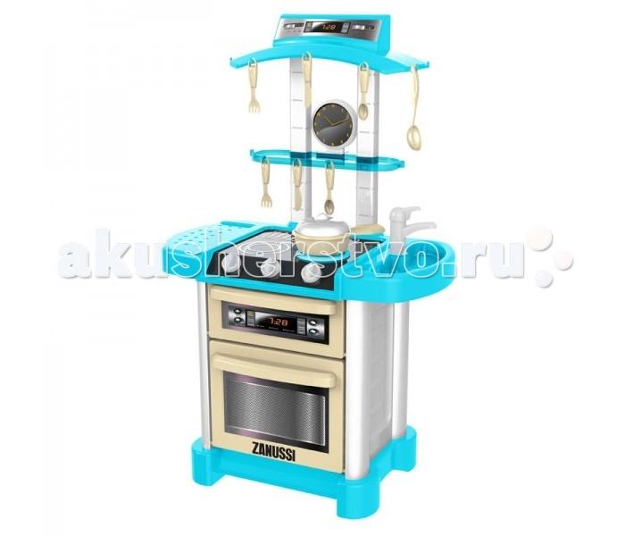 HTI Большая электронная кухня ЗануссиБольшая электронная кухня ЗануссиHTI Большая электронная кухня Занусси 1684053.00  Кухня с интерактивными эффектами. Представьте, вы поворачиваете ручку, и конфорка загорается, как у настоящей плиты. Ставите на огонь сковородку и слышите шипение масла. А вот забулькал суп. Затикал таймер. Все звуки как настоящие!  Раковина с краном, плита с конфоркой, полочка, вытяжка. Вместительная духовка с решеткой.  В наборе 12 аксессуаров: кастрюлька с крышкой тарелка половничек + лопатка столовые приборы  Общая высота кухни - 85 см.<br>