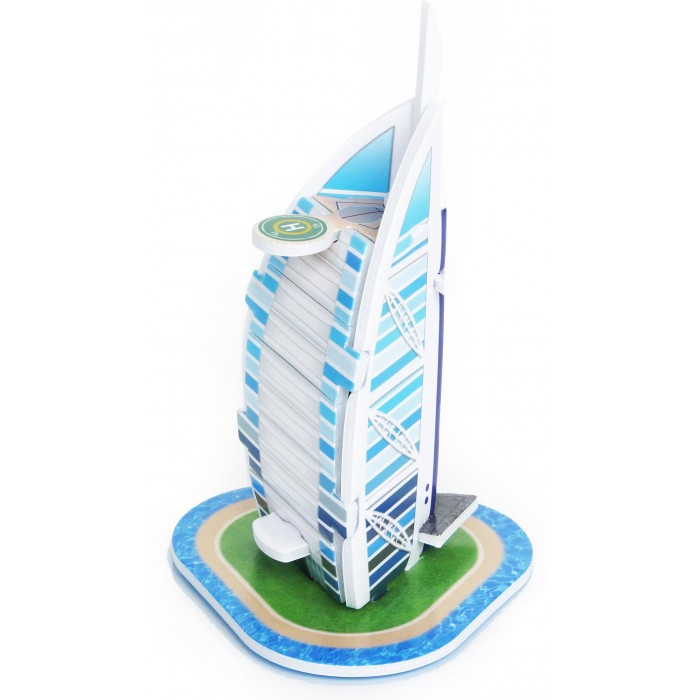 Конструктор IQ 3D пазл Бурдж Аль Араб3D пазл Бурдж Аль АрабIQ Игрушка 3D пазл Бурдж Аль Араб IQMA011  Пазл IQ 3D PUZZLE «Бурж-Аль Араб» из пенокартона будет замечательным подарком для каждого ребенка!  Серия 3D пазлов «Шедевры мировой архитектуры» позволит малышам познакомиться с самыми интересными сооружениями планеты. Бурдж аль-Араб — роскошный отель в Дубае, самом крупном городе Объединённых Арабских Эмиратов. Здание, высотой 321 метр, стоит в море на искусственном острове, соединённом с землёй при помощи моста.  Уровень сложности: 2. Количество деталей: 8. Размер собранного пазла: 5,9&#215;5,3&#215;9,3 см.<br>